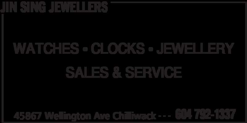 Jin Sing Jewellers (604-792-1337) - Display Ad - JIN SING JEWELLERS 45867 Wellington Ave Chilliwack 604 792-1337- - - WATCHES • CLOCKS • JEWELLERY SALES & SERVICE