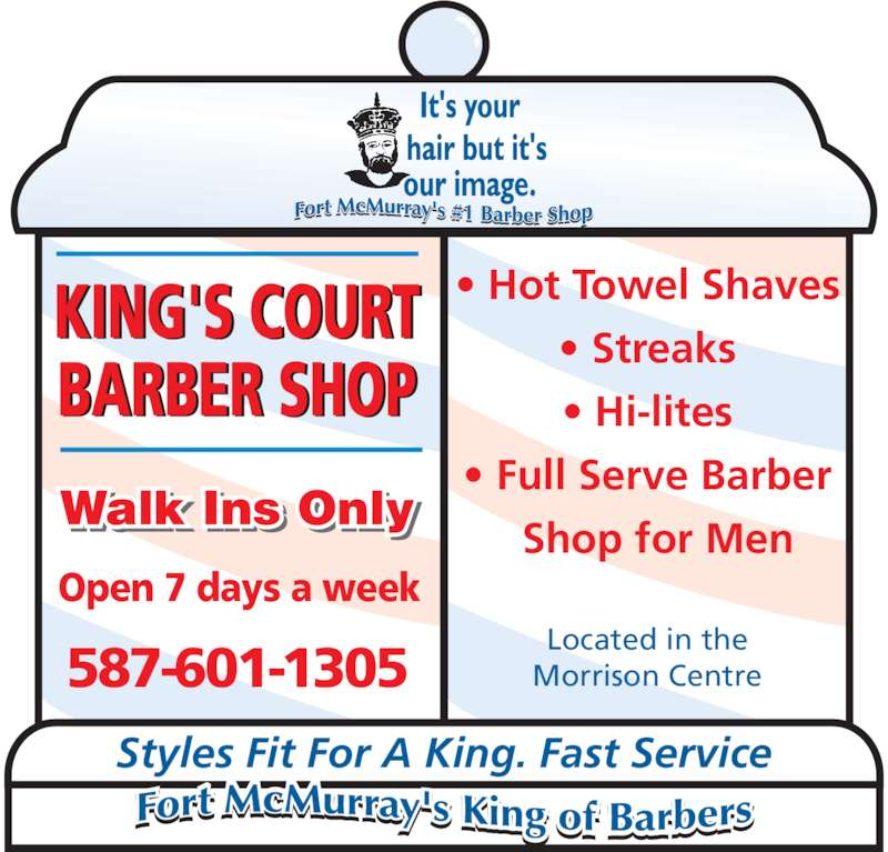 Barber Shop Open On Monday : Kings Court Barber Shop - Opening Hours - 101-9914 Morrison St, Fort ...