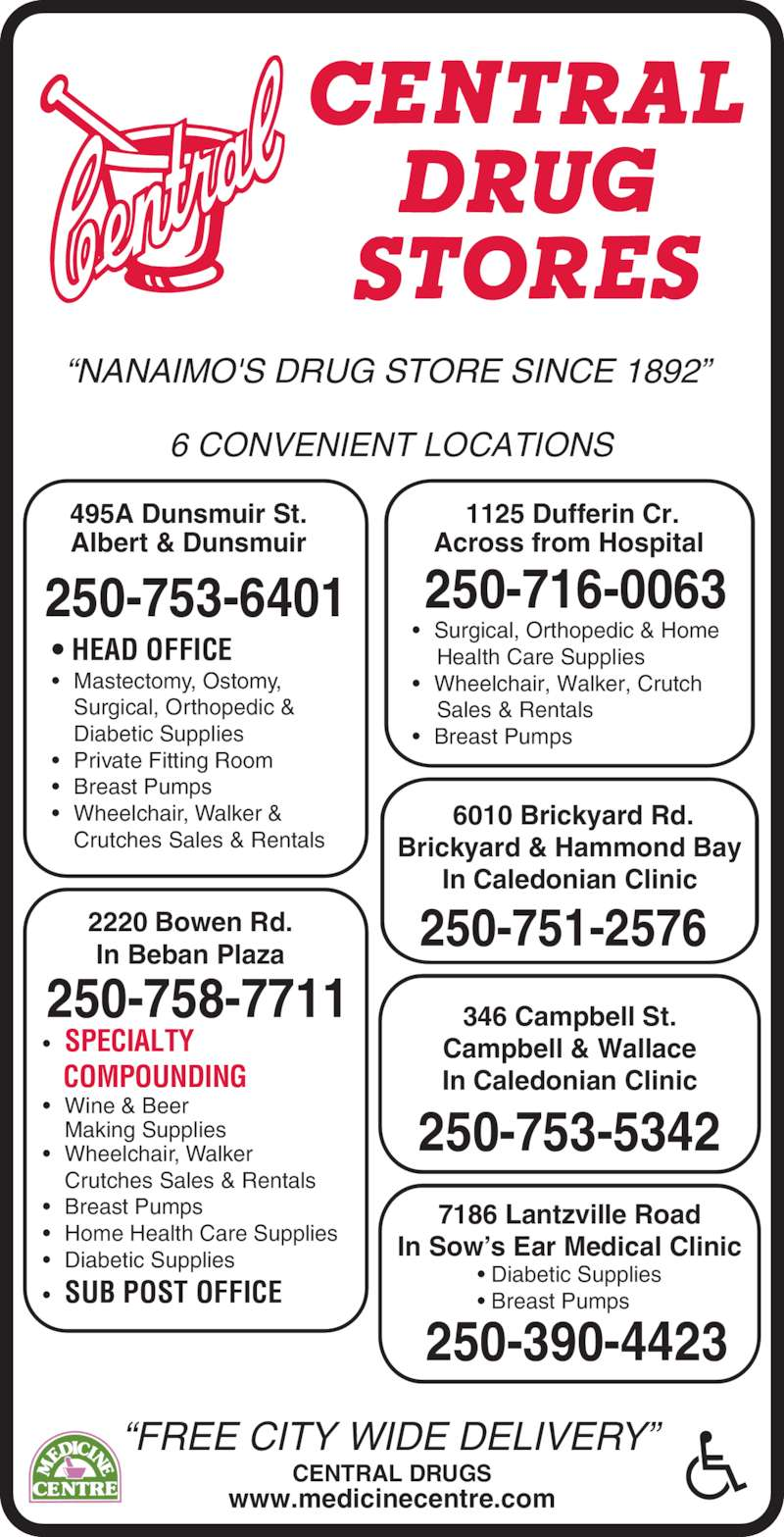 """Central Drugs (250-753-6401) - Display Ad - """"NANAIMO'S DRUG STORE SINCE 1892""""  """"FREE CITY WIDE DELIVERY"""" CENTRAL DRUGS www.medicinecentre.com 6 CONVENIENT LOCATIONS 495A Dunsmuir St. Albert & Dunsmuir 250-753-6401 • HEAD OFFICE • Mastectomy, Ostomy,  Surgical, Orthopedic &  Diabetic Supplies • Private Fitting Room • Breast Pumps • Wheelchair, Walker &  Crutches Sales & Rentals 346 Campbell St. Campbell & Wallace In Caledonian Clinic 250-753-5342  1125 Dufferin Cr. Across from Hospital 250-716-0063 • Surgical, Orthopedic & Home      Health Care Supplies • Wheelchair, Walker, Crutch     Sales & Rentals • Breast Pumps  6010 Brickyard Rd. Brickyard & Hammond Bay In Caledonian Clinic 250-751-25762220 Bowen Rd.In Beban Plaza • SPECIALTY    COMPOUNDING • Wine & Beer  Making Supplies • Wheelchair, Walker  Crutches Sales & Rentals • Breast Pumps • Home Health Care Supplies • Diabetic Supplies • SUB POST OFFICE 250-758-7711 7186 Lantzville Road In Sow's Ear Medical Clinic • Diabetic Supplies • Breast Pumps 250-390-4423"""