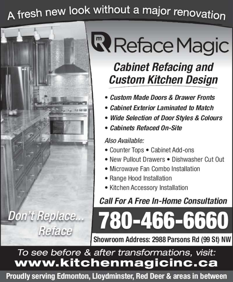 Reface magic 2988 parsons rd nw edmonton ab for Kitchen cabinets 99 street edmonton