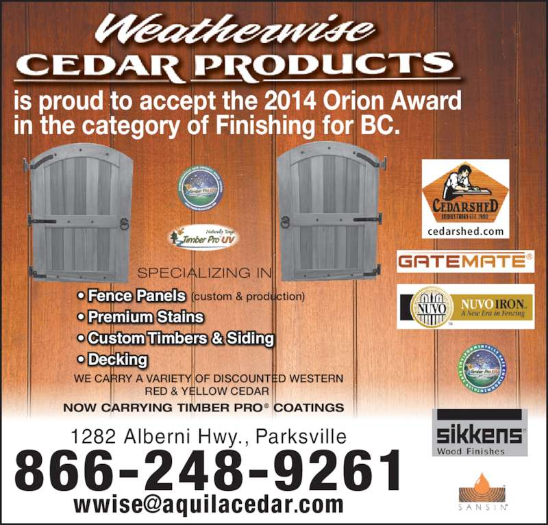 Weather Wise Cedar Products Parksville Bc 1282