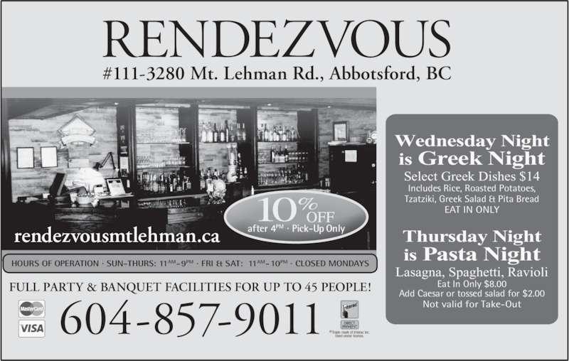 Rendezvous Restaurant Abbotsford Bc