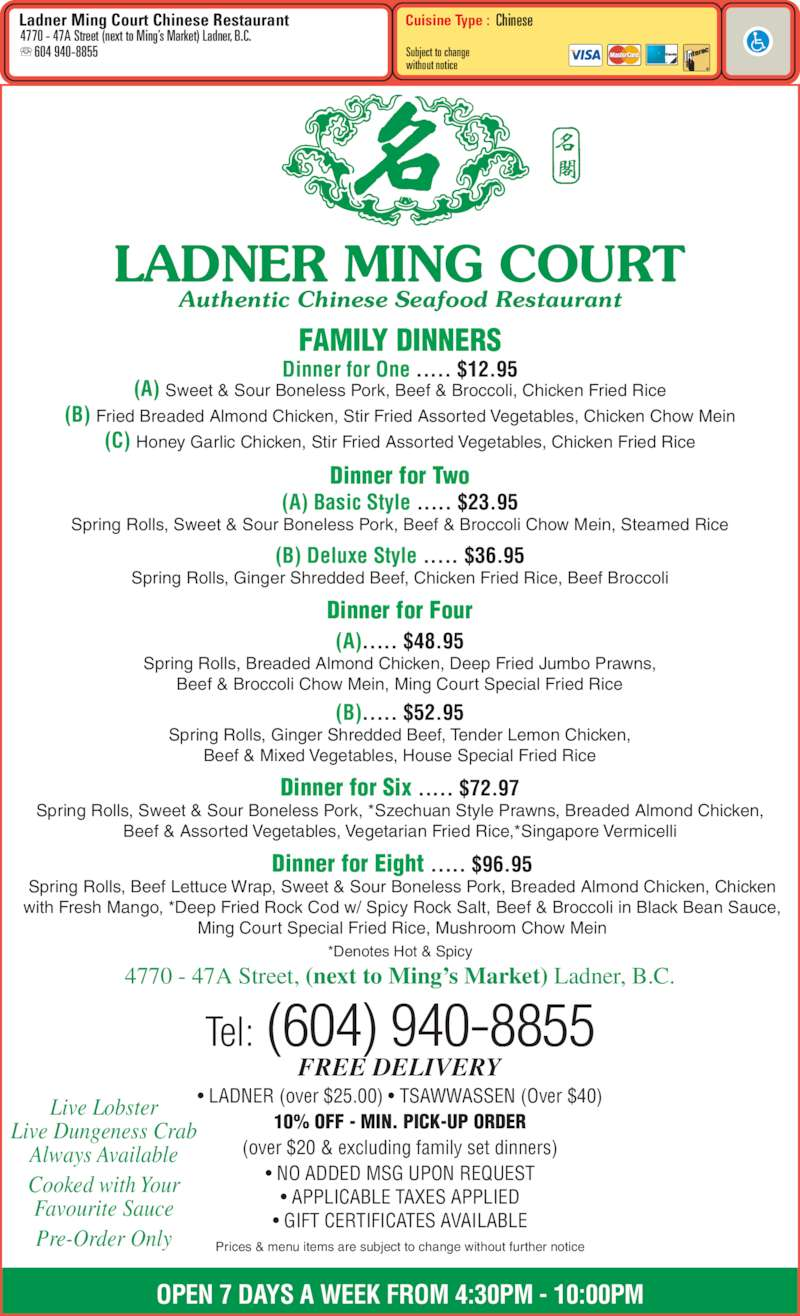 Ming Court Chinese Restaurant Menu
