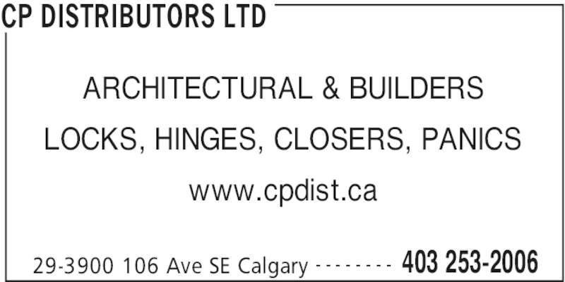 Cp Distributors Ltd Calgary Ab 29 3900 106 Avenue Se