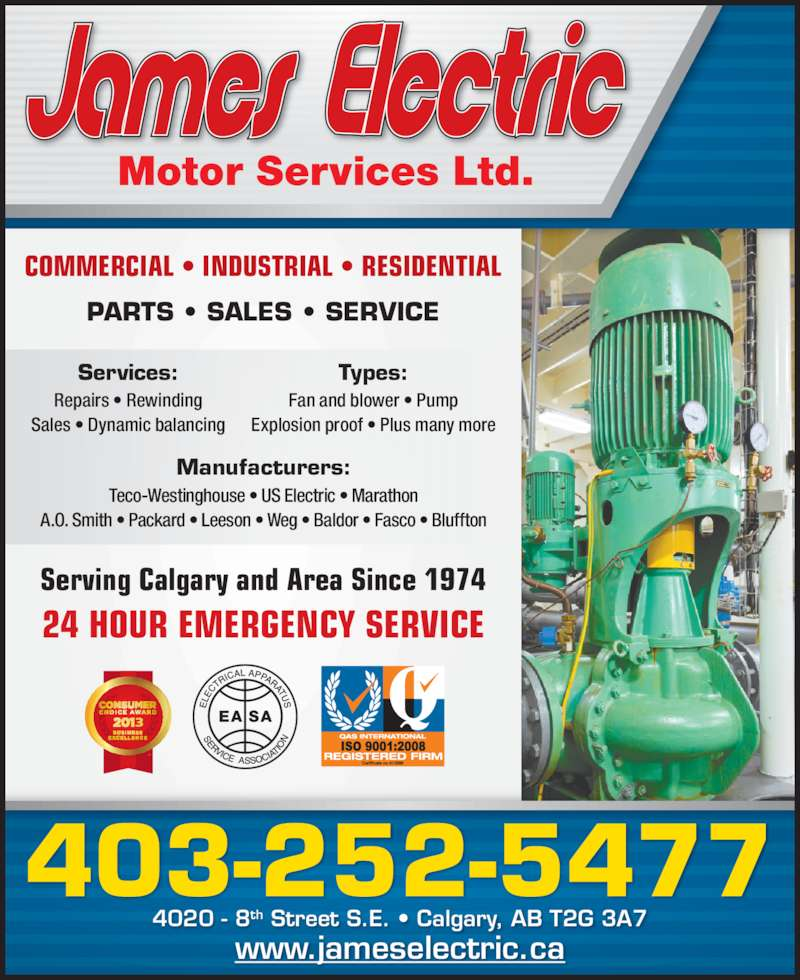 James Electric Motor Services Calgary Ab 4020 8 St Se