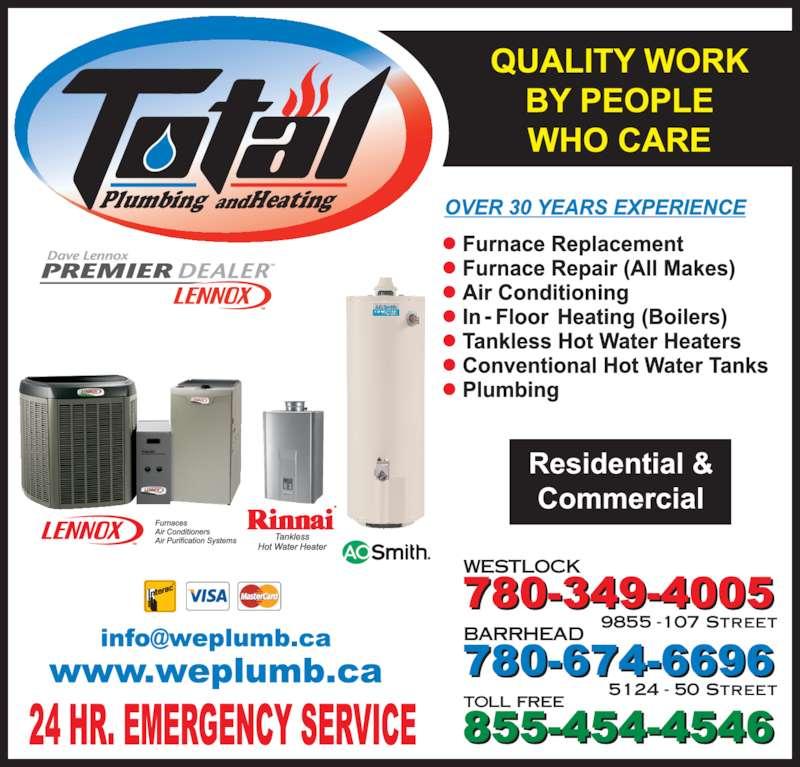 Total Plumbing & Heating (780-349-4005) - Display Ad - Plumbing Heatingand toll free WESTLOCK 9855 -107 Street BARRHEAD 5124 - 50 Street
