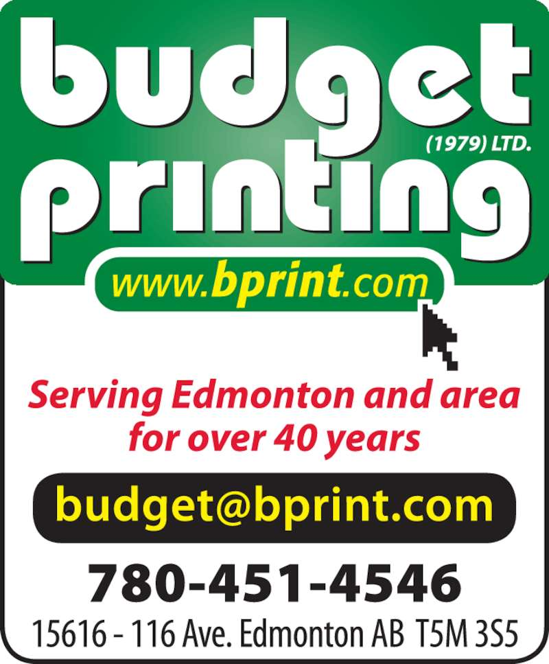 Budget Printing 2016 Inc Edmonton Ab 5537 Gateway