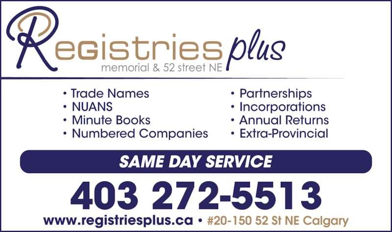 Registries Plus Inc (403-272-5513) - Display Ad -