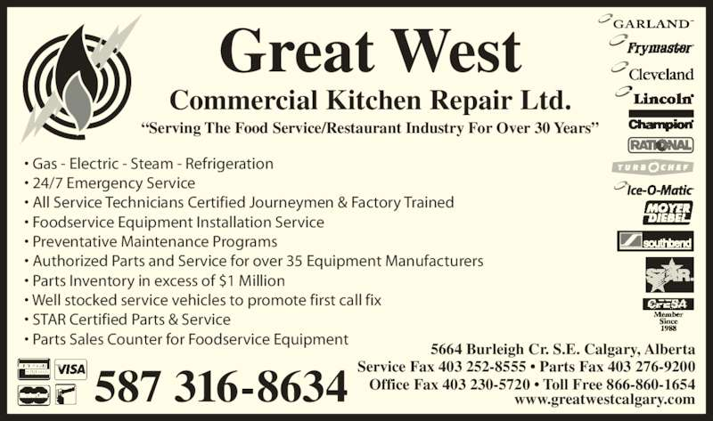 Great West Commercial Kitchen Repair Ltd Calgary Ab