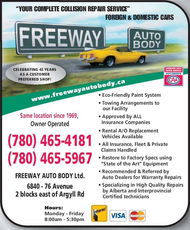 Freeway Auto Body Ltd Opening Hours 6840 76 Ave Nw