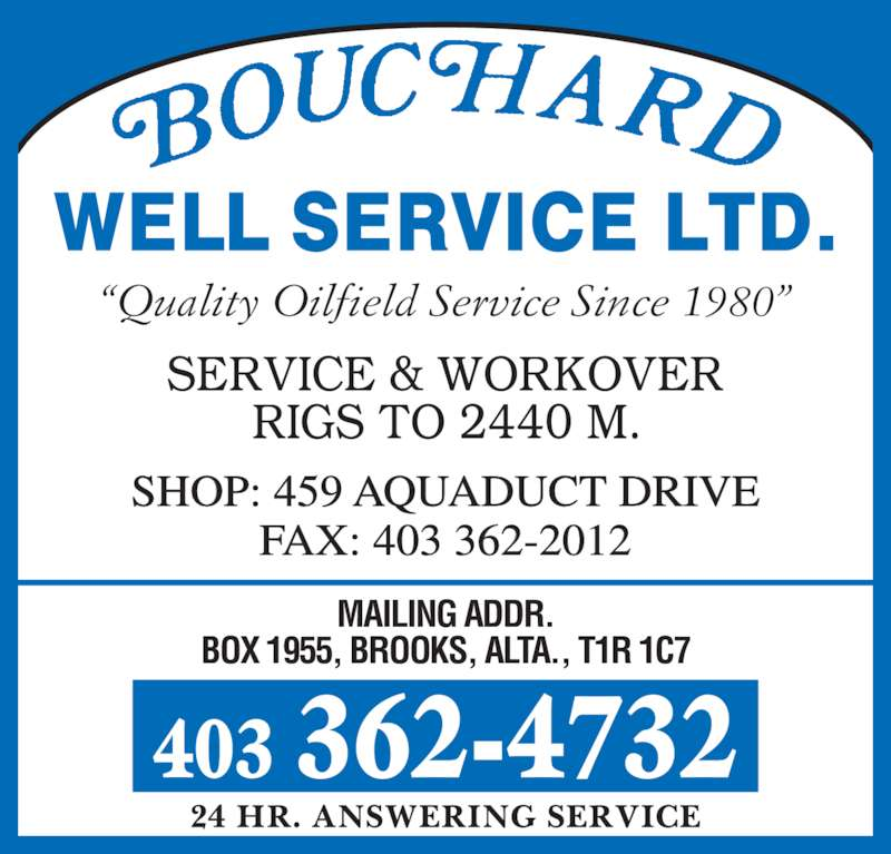 Bouchard well service ltd brooks ab 459 aquaduct dr e for 24 hour tanning salon near me
