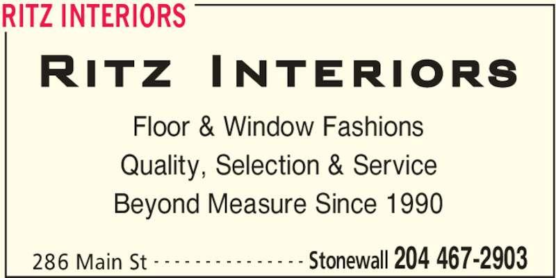 RITZ Interiors (204-467-2903) - Annonce illustrée======= -