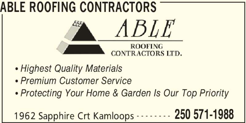 Able Roofing Contractors 1962 Sapphire Crt Kamloops Bc