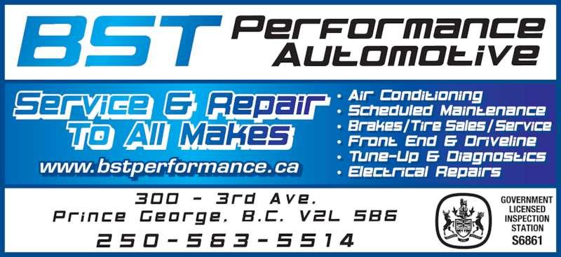 BST Performance Automotive Ltd (250-563-5514) - Display Ad - www.bstperformance.ca. t f .