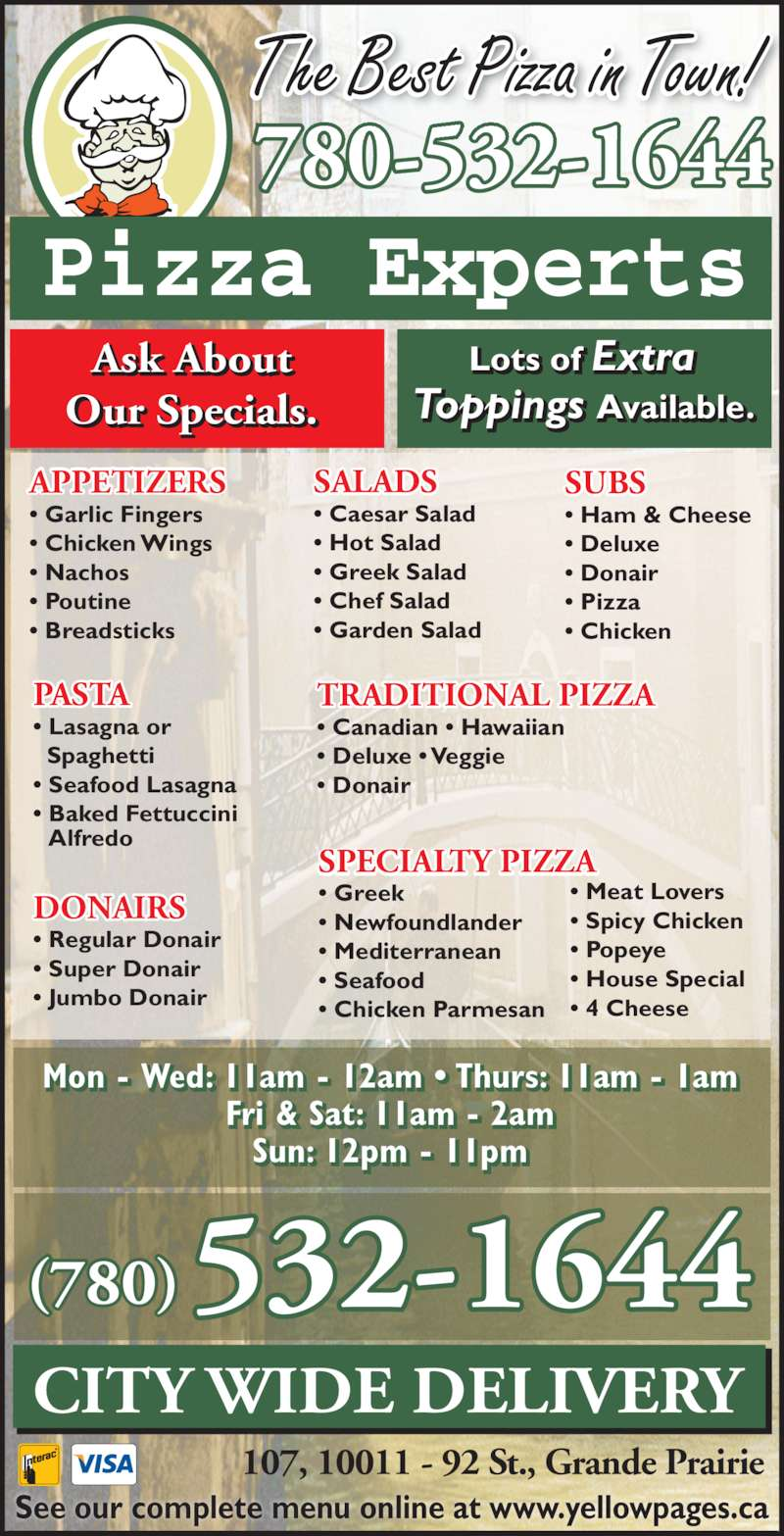 Pizza Experts Menu Hours Prices 107 10011 92 St Grande Prairie Ab