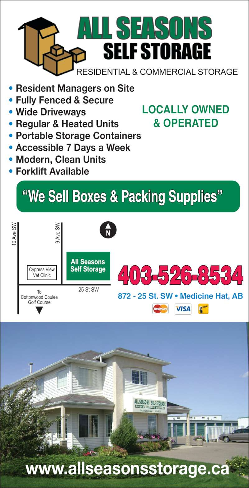 All Seasons Self Storage Opening Hours 872 25 St Sw