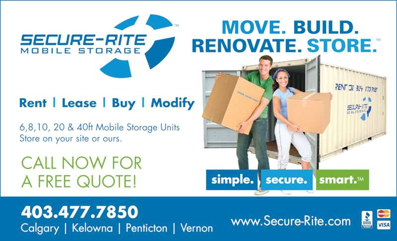 Secure-Rite Mobile Storage (403-477-7850) - Display Ad - Calgary | Kelowna | Penticton | Vernon 403.477.7850