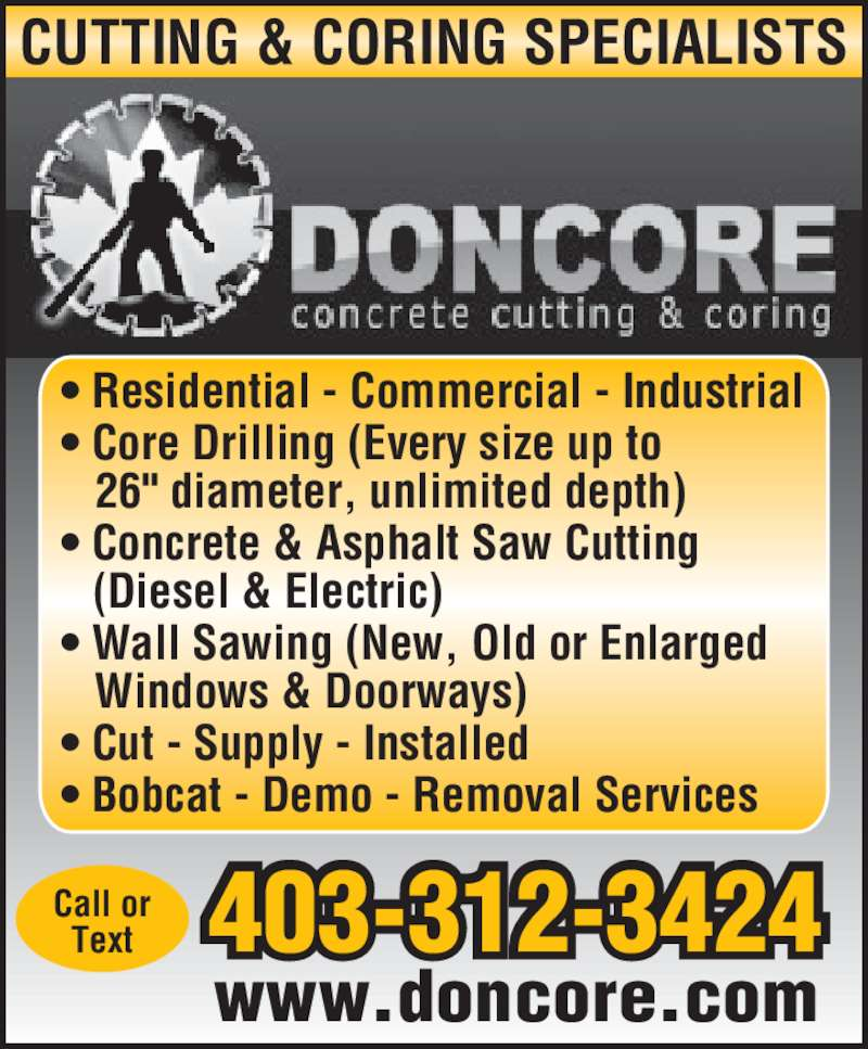 Doncore Concrete Cutting Amp Coring Opening Hours Po Box