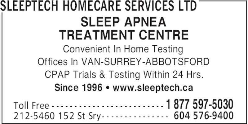 Sleeptech Homecare Services Ltd (604-576-9400) - Annonce illustrée======= -