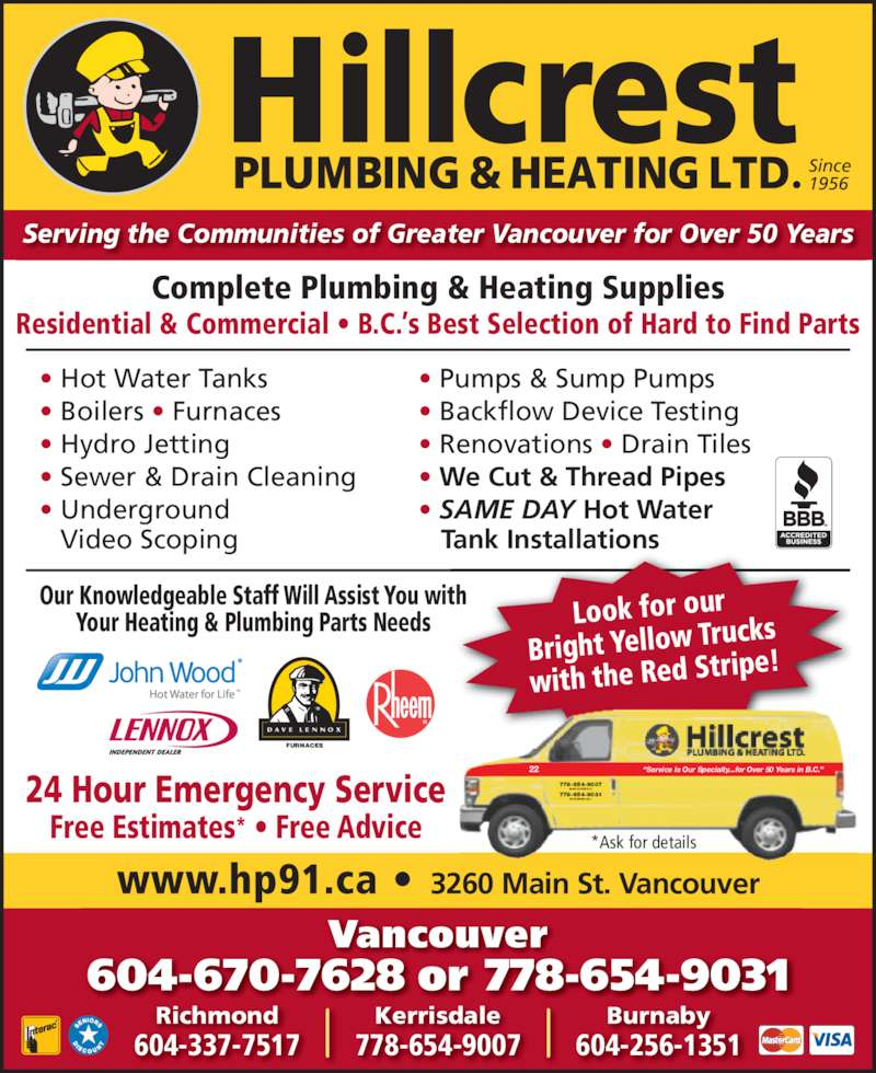 Hillcrest Plumbing Amp Heating Opening Hours 3260 Main