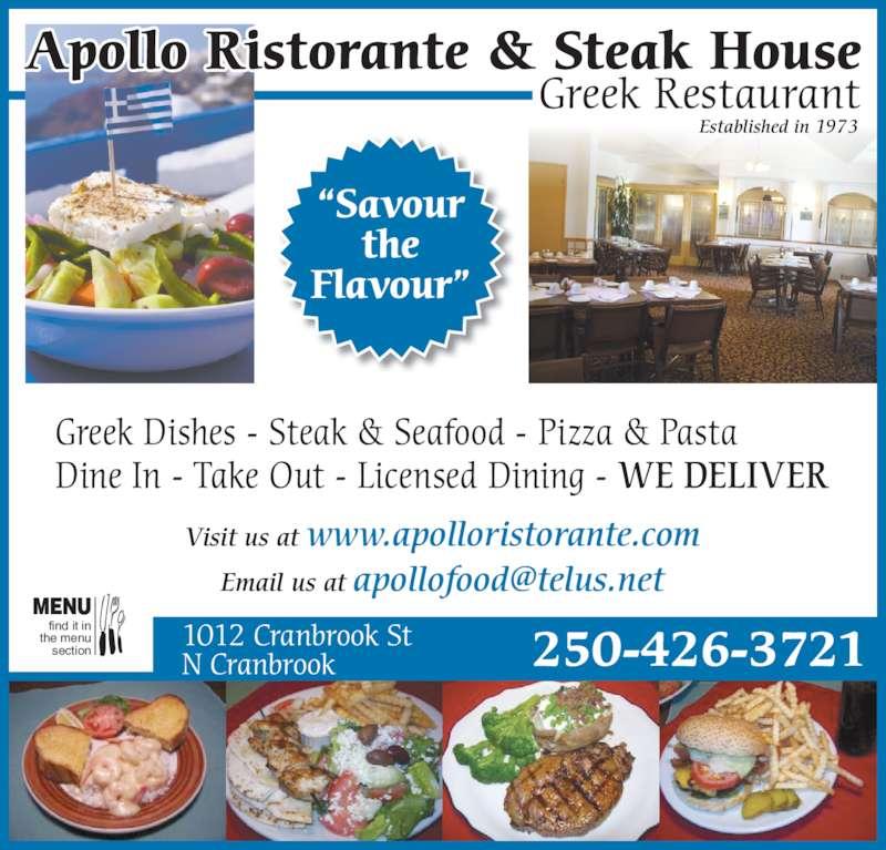 Apollo Ristorante & Steak House - Menu, Hours & Prices ...  Apollo