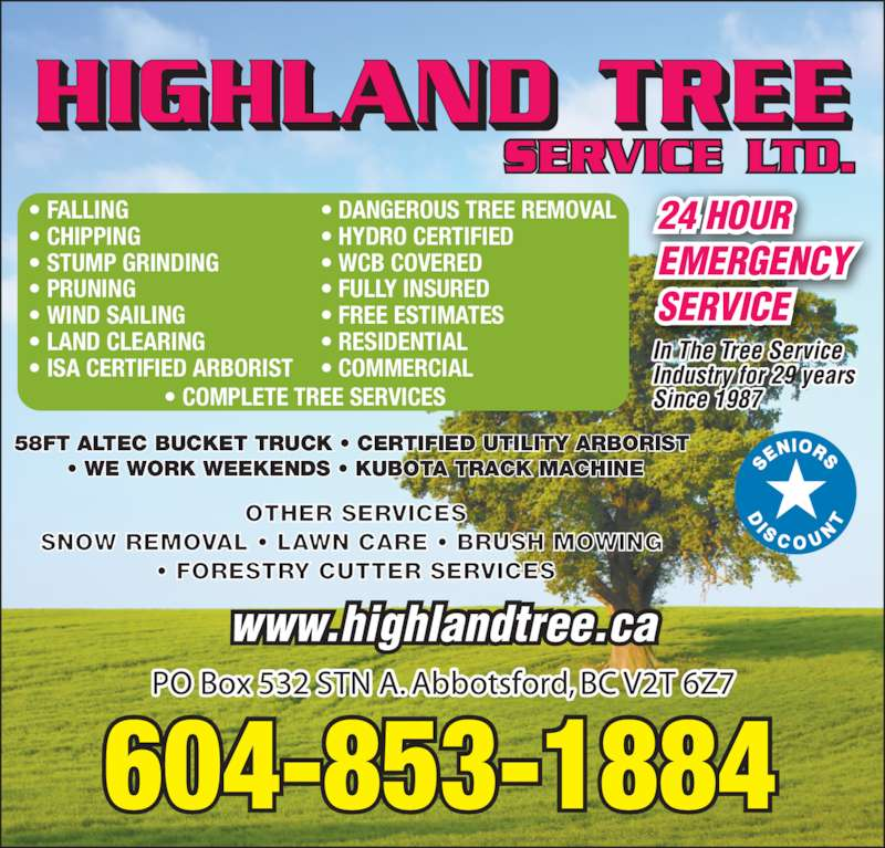 Highland Tree Service Ltd - Opening Hours - 2130 Ware St ...