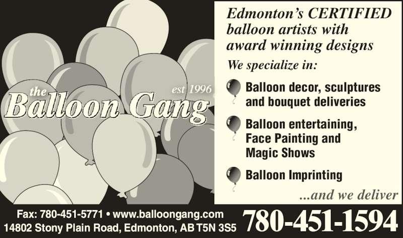 The Balloon Gang (780-451-1594) - Annonce illustrée======= -