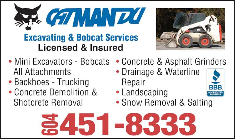 Catmandu Excavating & Bobcat Services (604-451-8333) - Annonce illustrée======= -