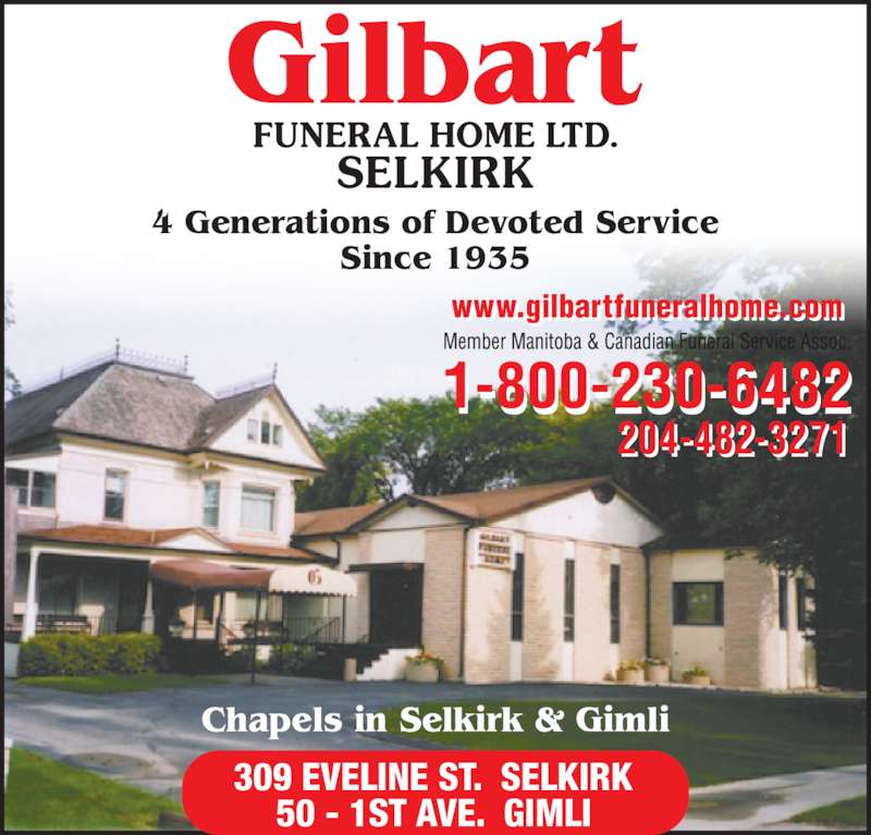 Gilbart Funeral Home Ltd Selkirk Mb 309 Eveline St