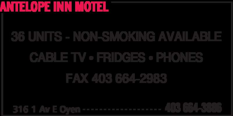 Antelope Inn Motel (403-664-3886) - Display Ad - ANTELOPE INN MOTEL 316 1 Av E Oyen 403 664-3886- - - - - - - - - - - - - - - - - - - 36 UNITS - NON-SMOKING AVAILABLE CABLE TV • FRIDGES • PHONES FAX 403 664-2983