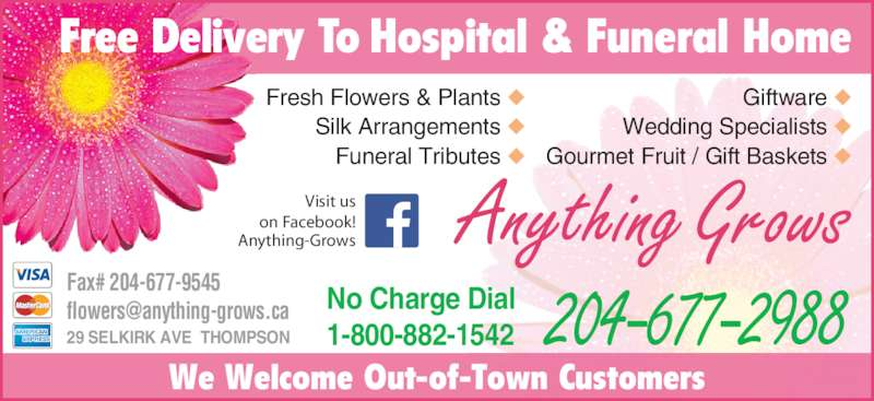 Anything Grows (204-677-2988) - Display Ad - Anything Grows We Welcome Out-of-Town Customers 204-677-2988No Charge Dial1-800-882-1542 Fresh Flowers & Plants ◆ Silk Arrangements ◆ Funeral Tributes ◆ Giftware ◆ Wedding Specialists ◆ Gourmet Fruit / Gift Baskets ◆ Visit us on Facebook! Anything-Grows Free Delivery To Hospital & Funeral Home Fax# 204-677-9545 29 SELKIRK AVE  THOMPSON
