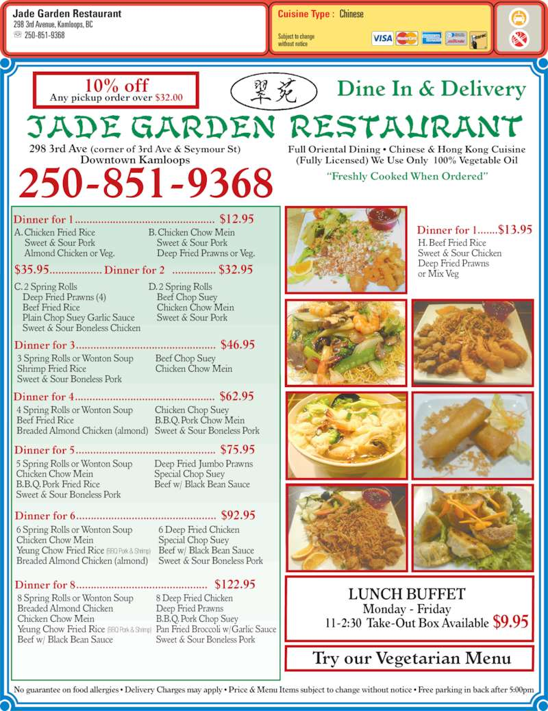 Jade Garden Restaurant Kamloops Bc 298 3rd Ave Canpages
