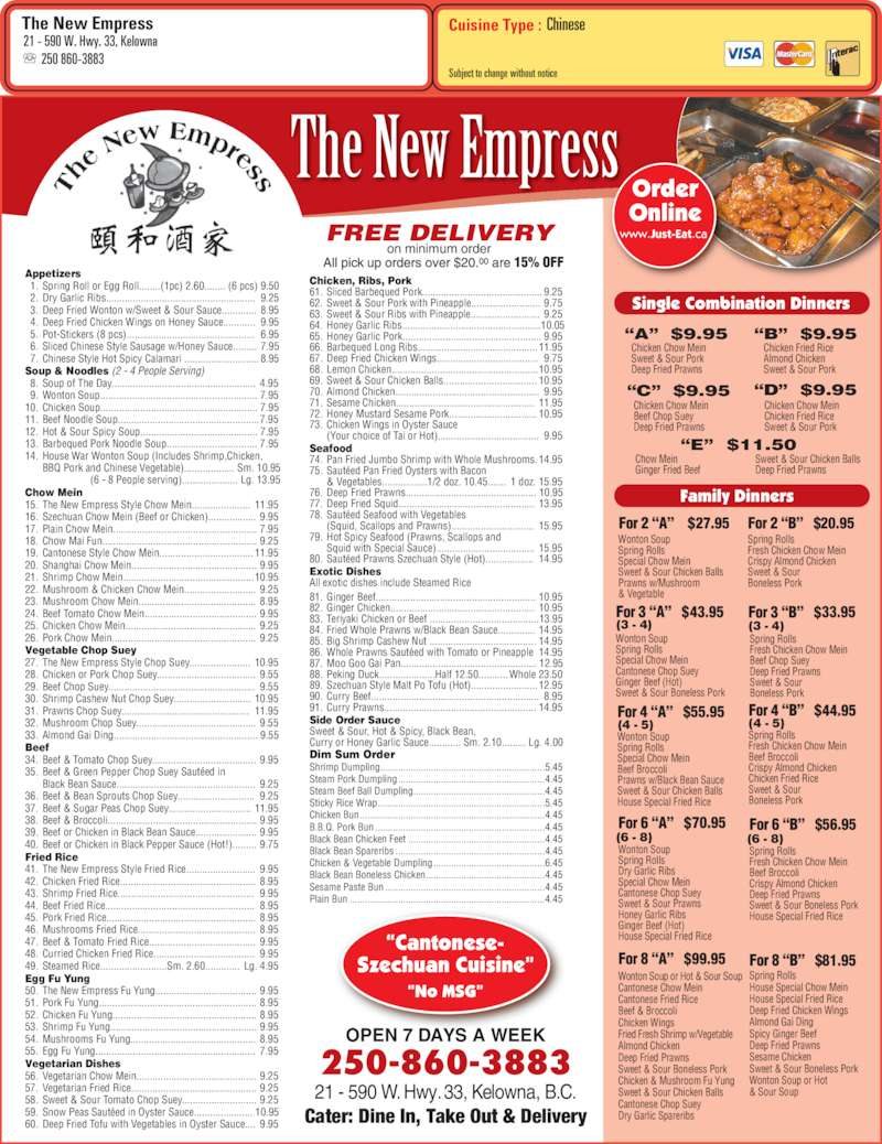 New Empress Chinese Restaurant Menu
