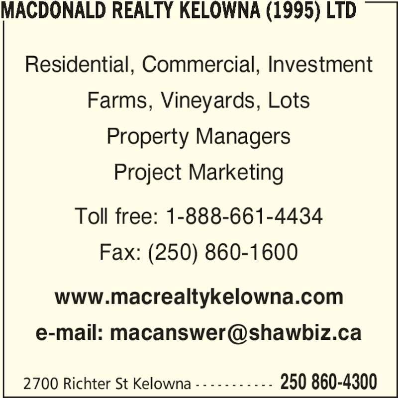 Macdonald Realty Property Management Kelowna