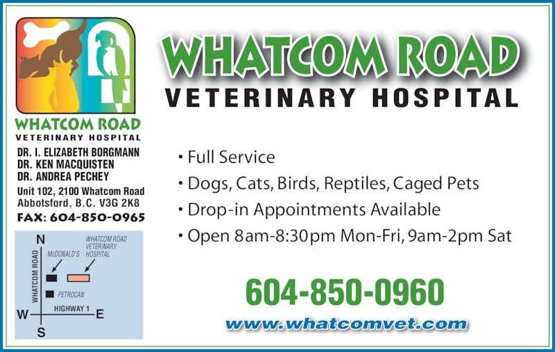 Whatcom Road Veterinary Hospital Opening Hours 2100