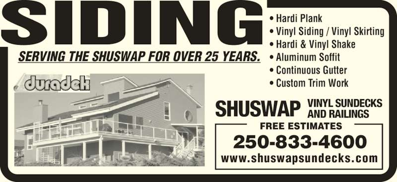 Shuswap Vinyl Sundecks And Railings