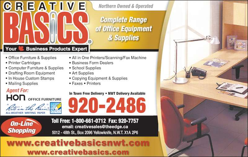 Creative Basics (867-920-2486) - Annonce illustrée======= -