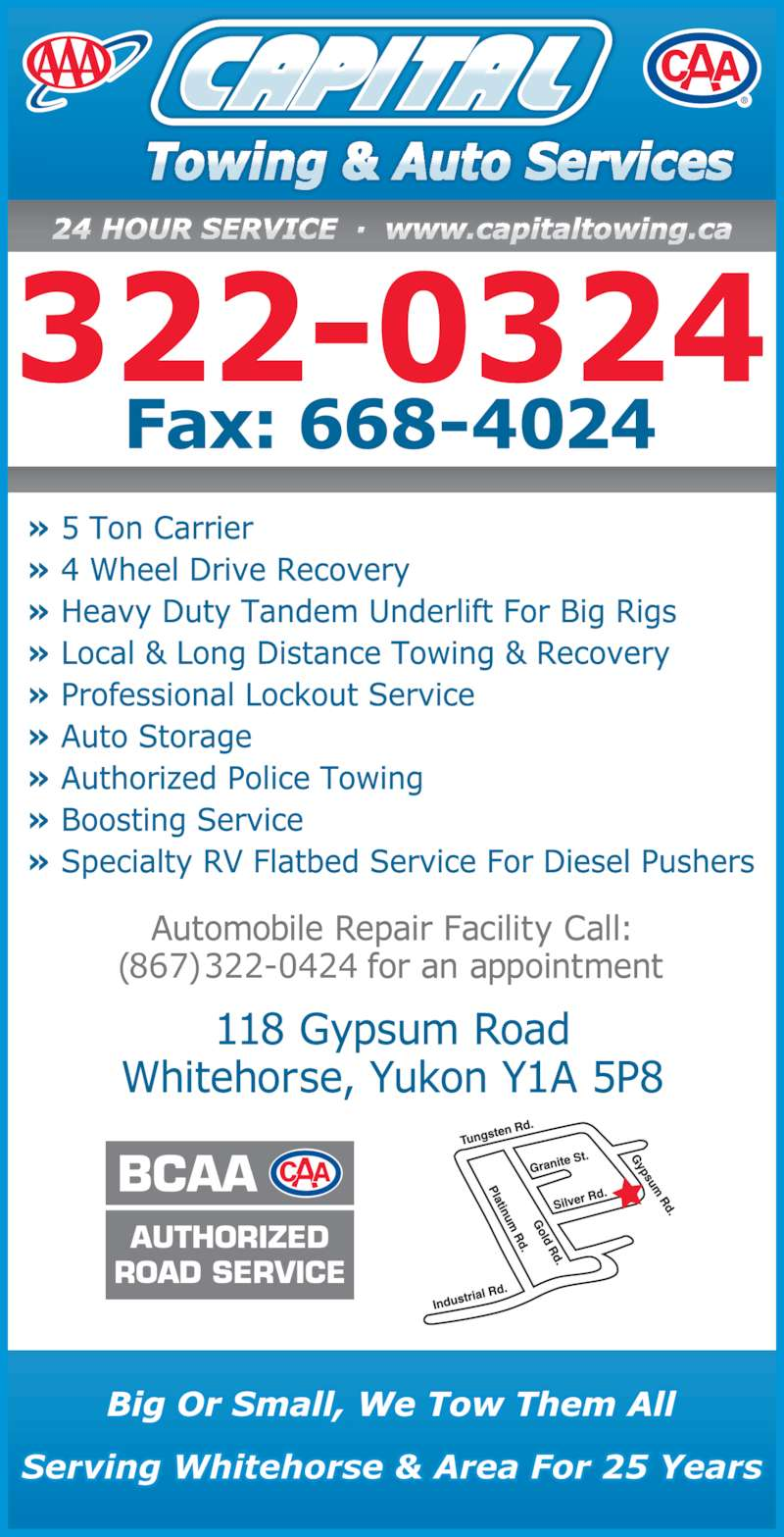 Capital Towing & Auto Service (867-667-2403) - Display Ad - (867) 322-0424 322-0324