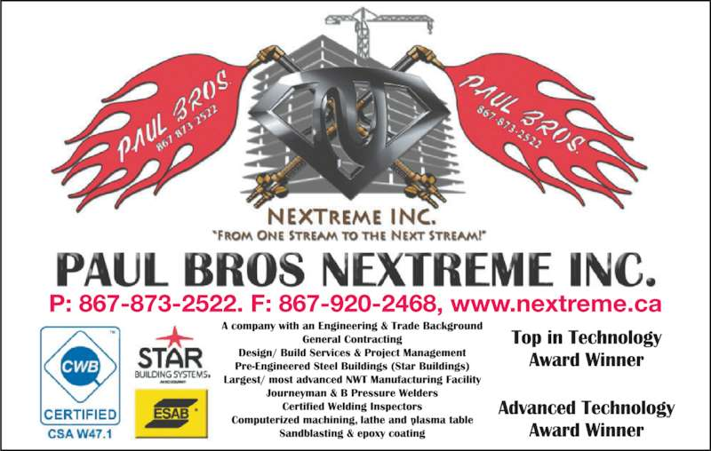 Paul Bros Welding (867-873-2522) - Display Ad -