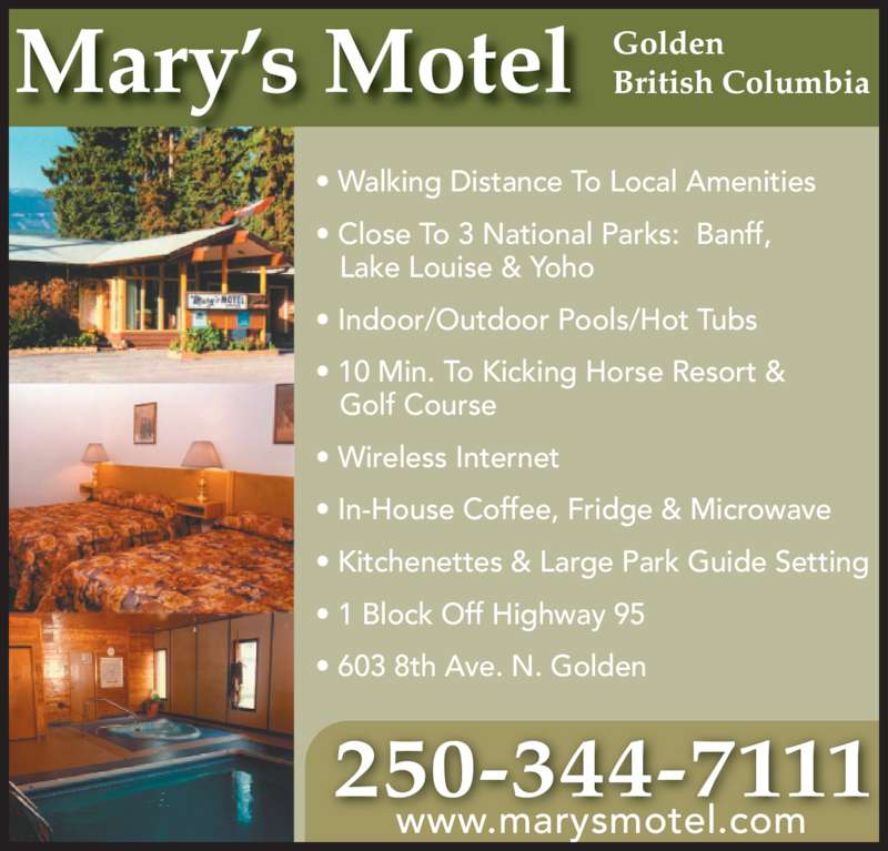 Mary 39 S Motel Opening Hours 603 8th Ave N Golden Bc