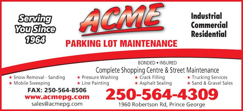 Acme Parking Lot Maintenance - Opening Hours - 1960 ...