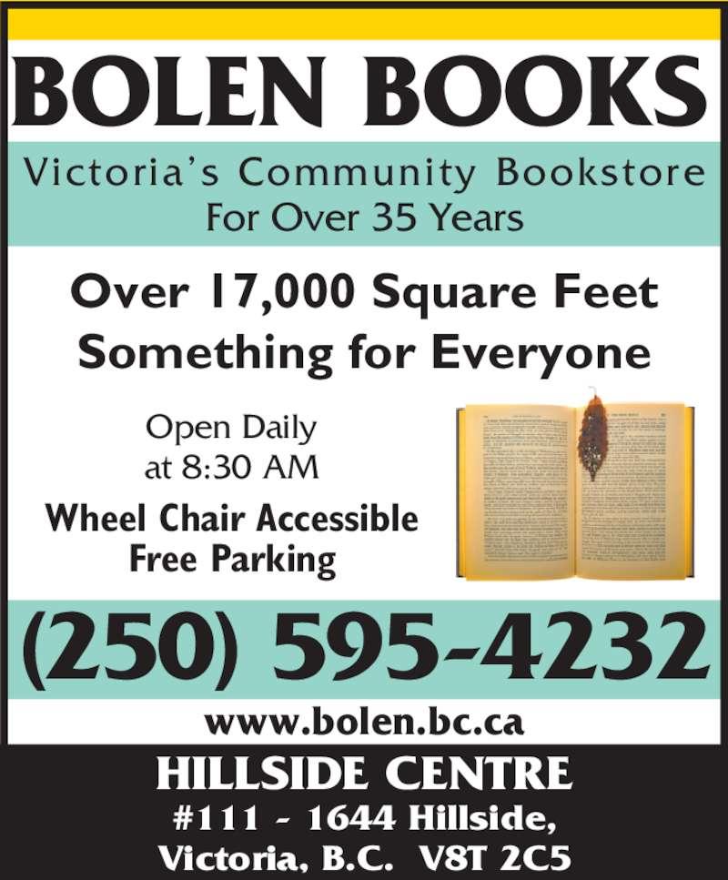 Bolen Books (250-595-4232) - Annonce illustrée======= -