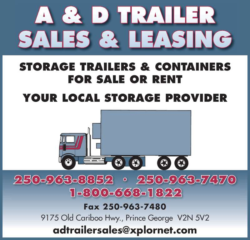 A Amp D Trailer Sales Amp Leasing Prince George Bc 9175 Old