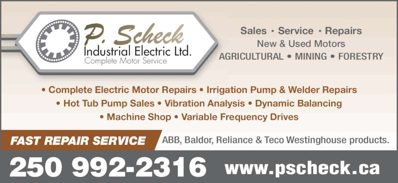 Scheck p industrial electric ltd opening hours 205a for Used electric motor shop equipment for sale