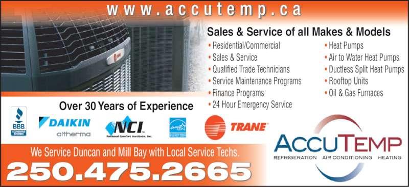Accutemp Refrigeration Amp Air Conditioning Amp Heating Ltd