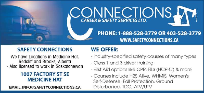 Connections Career & Safety Services Ltd (403-528-3779) - Display Ad -