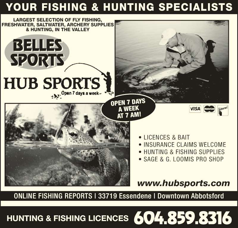 Hub sports opening hours 33719 essendene ave for Bc fishing license