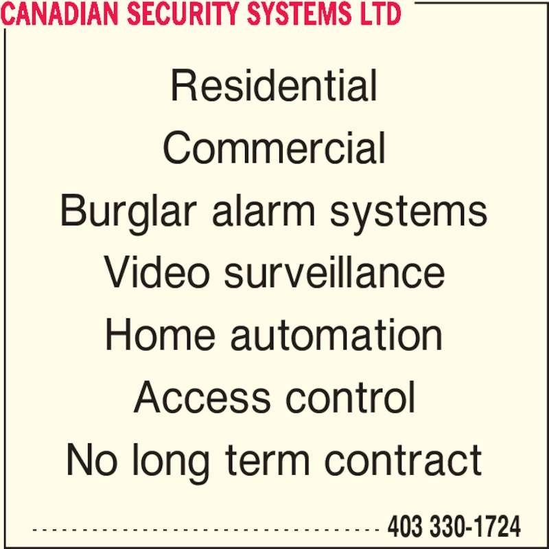 Canadian Security Systems Ltd Opening Hours