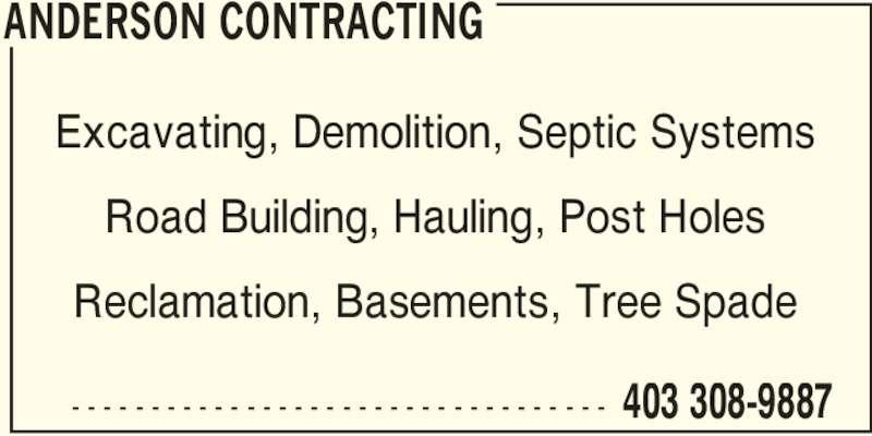 Anderson Contracting (403-308-9887) - Annonce illustrée======= -