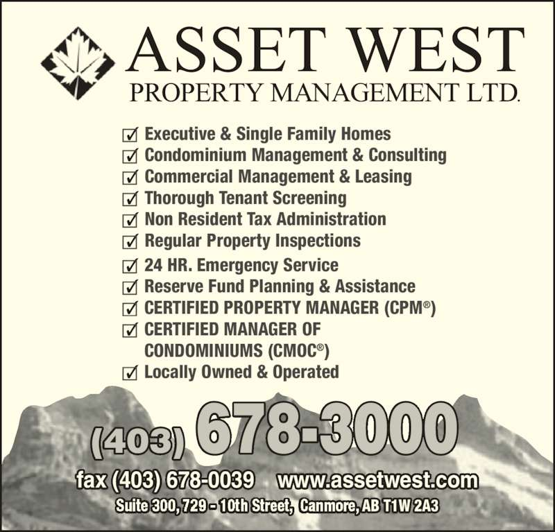 Asset West Property Management Canmore